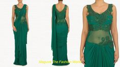 Teal green saree gown with self color embroided sleevless blouse