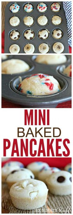 Mini Baked Pancakes Recipe from SixSistersStuff.com | Quick & Easy Breakfast Recipe | Freezer Meals for On-The-Run Mornings | Kid Approved Breakfast