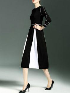 Black V neck Long sleeve A-line Paneled Color Block Chiffon Midi Dress