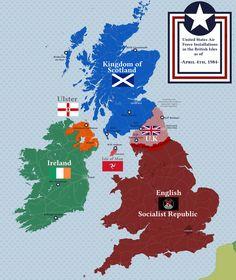 USAF installations in the British Isles, 1984 - imaginarymaps Alternate Worlds, Alternate History, British Empire Flag, Fantasy Map Generator, Imaginary Maps, Military Drawings, Futuristic Art, Fictional World, Flags Of The World