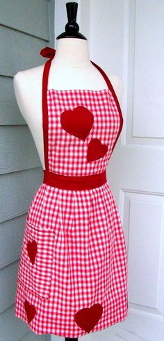 Upcycled Valentine's Apron  Red Gingham Heart by DrapesofWrath, $36.00