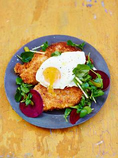 Mustard chicken Milanese | Jamie magazine recipes Chicken Milanese, Fried Chicken Breast, Good Roasts, Watercress Salad, Mustard Chicken, Smoked Ham, Leftover Ham