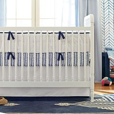 Clasic Navy Blue Crib Bedding set at Serena and Lily