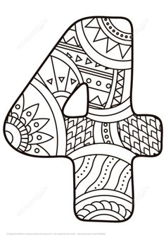 Number 4 Zentangle coloring page from Zentangle Numbers category. Select from 25143 printable crafts of cartoons, nature, animals, Bible and many more. Free Printable Coloring Pages, Coloring Book Pages, Coloring Pages For Kids, Coloring Sheets, Funny Numbers, Counting For Kids, Printable Numbers, Printable Crafts, Printables