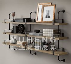 Vintage wall shelf storage rack French industrial furniture loft style wall mounted Bookshelf exhibition display stands small and large size 150-220.000