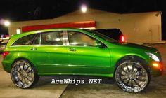 "Candy Lime Green Mercedes-Benz R350 on 30"" Asanti Rims"