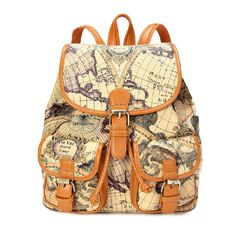 Casual Style Columbuss Voyage Map Print PU Leather Women's Backpack - Backpacks - Bags Free Shipping