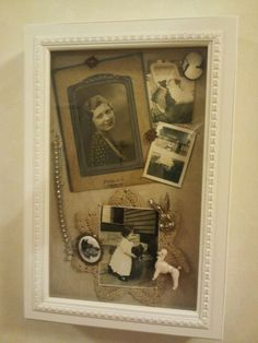 shadow boxes (Granny, Mom)is the another shadow box I bought at TJ Maxx to put in my grandma's photos and jewerlies. Shadow Box Memory, Memory Frame, Diy Shadow Box, Shadow Box Frames, Shadow Tree, Shadow Box Kunst, Vintage Display, Family Tree Wall, Frame Crafts