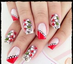 Fabulous Nails, Gorgeous Nails, Pretty Nails, Perfect Nails, Fingernail Designs, Cute Nail Designs, Flower Nail Art, Beautiful Nail Art, Easy Nail Art