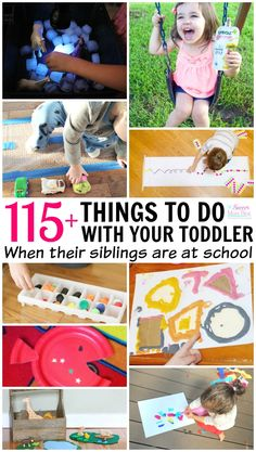 Siblings are great for entertaining each other...until older brothers & sisters go back to school! A go-to list of toddler activities for stay at home moms (or dads!) Educational, science, arts & crafts, play, and fine motor activities perfect for toddlers and preschoolers.