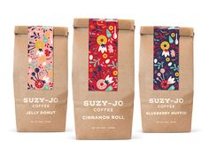 Coffee Packaging - - Coffee packaging for Suzy-Jo Donuts *student work*. Spices Packaging, Food Packaging Design, Coffee Packaging, Brand Packaging, Coffee Labels, Bottle Packaging, Tea Design, Coffee Design, Packaging Inspiration