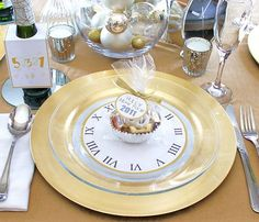 Silver and gold new years eve party...clear plates with clock template underneath