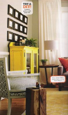 Sunny yellow sideboard.