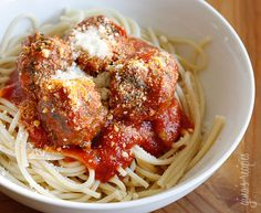 They are moist and flavorful with or without the sauce. Serve the leftovers for lunch on crusty whole wheat Italian bread for a meatball hero. For a traditional spaghetti and meatball dinner, serve this over 1 cup of your favorite low point pasta.