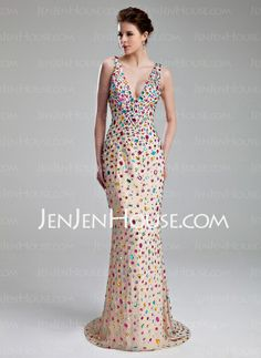 Sheath V-neck Sweep Train Chiffon Prom Dress With Beading (018019097) http://jenjenhouse.com/Sheath-V-Neck-Sweep-Train-Chiffon-Prom-Dress-With-Beading-018019097-g19097