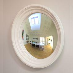 Rohana Decorative Convex Mirror in Bone White Convex Mirror, Mantles, Round Mirrors, Entrance, Interior Design, Furniture, Home Decor, Entryway, Design Interiors