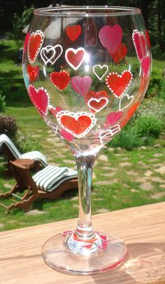 Valentines Day Hearts Wine Glass Hand Painted Wedding by CCsCrafts