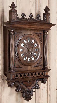 Antique Gothic Walnut Wall Clock | Antique Mantel/Wall Clocks | Inessa Stewart's Antiques