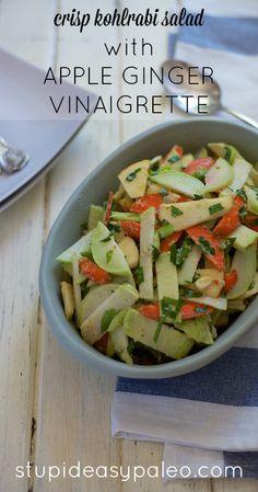Crisp Kohlrabi Salad with Apple Ginger Vinaigrette -- kohlrabi, carrots, apple, parsley, green onions, salt, pepper, ginger, ACV, evoo