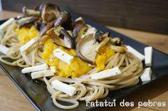 Esparguete de espelta c/ abóbora assada, shitake e feta | ratatui dos pobres