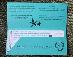 Turquoise Teal Anchor Starfish Waves Yacht Boarding Pass