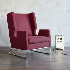 Buy Danforth Chair from Gus Modern. The Danforth Chair is an updated interpretation of the classic wingback style. The chair features a cutaway arm silh. Chair Upholstery, Chair Fabric, Upholstered Dining Chairs, Dining Chair Set, Chair And Ottoman, Living Room Furniture, Modern Furniture, Papasan Chair, Swivel Chair