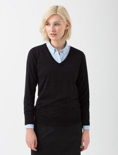 Cargo Crew's V-Neck Knit in Black is an ideal layer item that is light enough to be worn most of the year, yet heavy enough to add warmth Uniform Shop, Corporate Fashion, Workwear, Finals, V Neck, Knitting, Modern, Shopping, Black