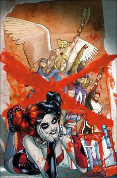 """#Justice #League #Fan #Art. (Justice League United. The Infinitus Saga: Part 5 of 6. """"Harley Quinn"""" Vol.1#9 Variant Cover) By: Andrew Robinson. (THE * 5 * STÅR * ÅWARD * OF: * AW YEAH, IT'S MAJOR ÅWESOMENESS!!!™)[THANK U 4 PINNING!!!<·><]<©>ÅÅÅ+(OB4E)"""