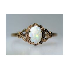 ESTATE VINTAGE AUSTRALIAN OPAL RING YELLOW GOLD NATURAL OVAL OLD DECO... ❤ liked on Polyvore featuring jewelry, rings, vintage gold jewelry, vintage gold rings, gold jewellery, yellow gold rings and yellow gold opal ring