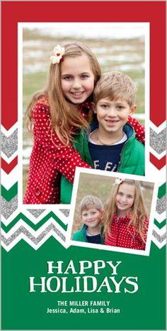 Sparkling Chevron Stripes 4x8 Photo Card by Shutterfly | Shutterfly #PhotosYouLove