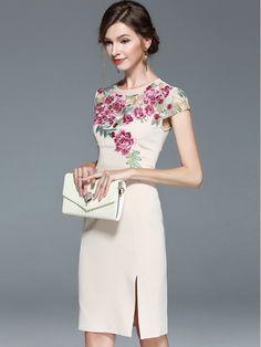 Apricot Side Split Embroidered Floral Midi Dress