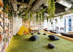 Office Interior Design, Cafe Interior, Office Interiors, Library Cafe, Kids Library, Bookstore Design, Library Design, Playground Design, Indoor Playground