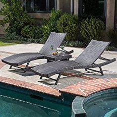 Best Selling Home Decor Kauai Wicker 3 Piece Chaise Lounge Set