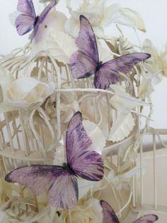 3D Butterfly Wall Art  Unique three dimensional in flight opaque butterflies        Sparkling Lilac Romantic Wedding Butterflies