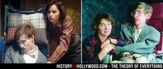 Eddie Redmayne and Felicity Jones in The Theory of Everything movie (left) vs. the real Jane Hawking and Stephen Hawking in the 1980s. See more pics at http://www.historyvshollywood.com/reelfaces/theory-of-everything/