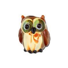 Brown Owl Glass Beads - Ahh CUTE!