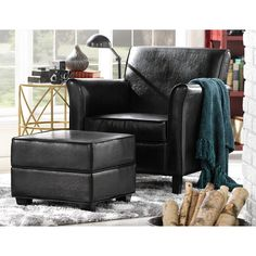 Hd Designs Morrison Accent Chair black chairs chairs under 200 Hd Designs Lincoln Club Chair Storage Ottoman