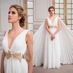 vestido de novia griego de gasa y macrame · Gossamer greek wedding dress and macrame - www.santoencanto.cl/vestidos-de-novia/