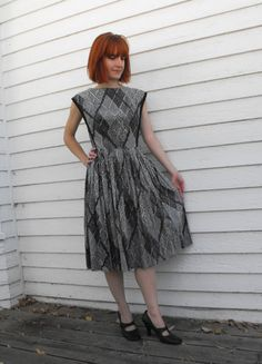 Vintage 50s Dress Black White Abstract Print by soulrust on Etsy, $59.99