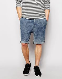 "Shorts by Zee Gee Why Stretch denim Acid wash Drawstring waistband Side slant pockets Patch pockets to reverse Dropped crotch Slim fit - cut closely to the body Machine wash 98% Cotton, 2% Elastane Our model wears a 32""/81cm regular and is 185.5cm/6'1"" tall"