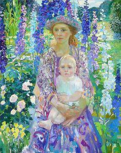 Painting by Olga Suvorova - L'art Du Portrait, Portraits, Fields In Arts, Art Moderne, Russian Art, Klimt, William Morris, Mother And Child, Art Plastique