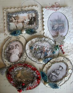 Vintage family picture ornaments