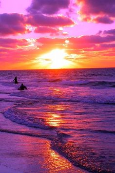 Tropical beach sunset in pink on the sea.                                                                                                                                                                                 More