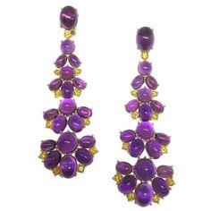 7.2g Solid Sterling Silver Purple Amethyst Enamel Orchid Flower Dangle Earrings