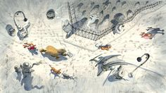 """The Footprints are Clues"" from A Book. Original illustration by Mordicai Gerstein available at the R. Michelson Galleries."
