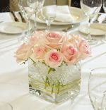 short square vases. These look similar to the centerpieces I made for my daughter's bridal shower.