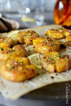 Recette Pommes de terre tapée à l'ail, huile d'olive et piment