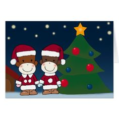 K&K Sock Monkey Christmas Greeting Card