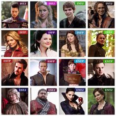 """Once upon a Time MBTI type table  (I tried to pick characters that epitomized their type, and didn't include any """"just because"""" or for the sake of completion. Or if I wasn't certain of their type.) :)"""