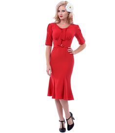 Stop Staring 1940s Style Red Rouge Dress #uniquevintage
